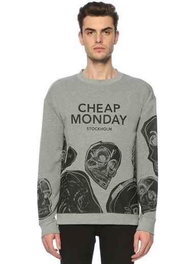 Baskılı Bisiklet Yaka Sweatshirt-Cheap Monday